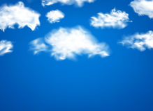 White fluffy clouds over blue. Realistic white fluffy clouds over blue background. Vector illustration Stock Images