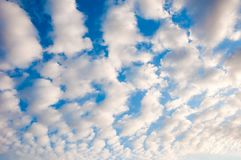 White fluffy cumulus clouds. background. Stock Photos