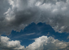 White fluffy Cumulus clouds on a blue sky Stock Image