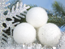 White fluffy New Year balls Royalty Free Stock Image