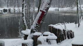 White fluffy snow. Bank of the river winter landscape stock video