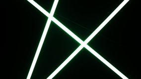 White fluorescent neon lighting blur to sharp and turn off. Lighting neon lights on the ceiling. White neon glass tubes lighting stock footage