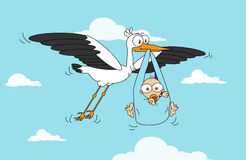 Stork with Baby Boy. White Flying Stork Delivery Smiling Baby Boy Stock Images