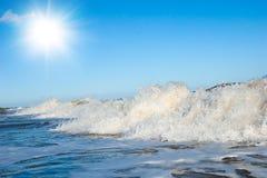 White Foam On Wave Crest. Evening Beach. Stock Photos