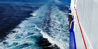 White Foam Ship Wake in Ocean Stock Photography