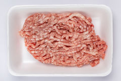 A white foam tray of raw minced pork from supermarket, fresh foo. D ingredients concept Royalty Free Stock Photography