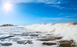 White foam on wave crest. Uruguay, Montevideo Stock Photos
