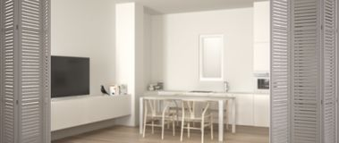 White folding door opening on minimalist white kitchen with dining table and parquet floor, oven sink and gas stove, white. Interior design, designer concept royalty free illustration