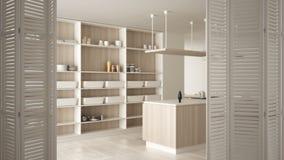 White folding door opening on modern white kitchen with wooden details and parquet floor, white interior design, architect. Designer concept, blur background royalty free illustration
