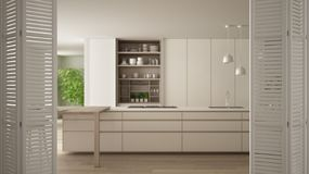 White folding door opening on modern white kitchen with wooden details and parquet floor, white interior design, architect. Designer concept, blur background stock illustration