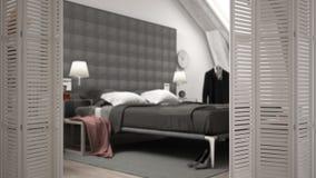White folding door opening on modern luxury contemporary bedroom, interior design, architect designer concept, blur background. White folding door opening on stock image