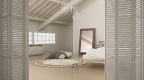 White folding door opening on modern luxury contemporary minimalistic loft open space with bedroom and bathroom, interior design,. Architect designer concept royalty free stock photo