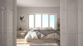 White folding door opening on modern minimalist bedroom with big window, spiral staircase, interior design, architect designer con. Cept, blur background royalty free stock photo