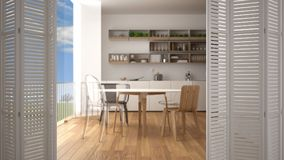White folding door opening on modern minimalist kitchen with big panoramic window, modern interior design, architect designer conc. Ept, blur background royalty free stock photos