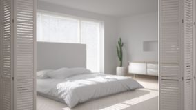 White folding door opening on modern scandinavian minimalist bedroom, white interior design, architect designer concept, blur back. Ground vector illustration