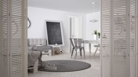 White folding door opening on scandinavian minimalistic living room with pallet sofa and vintage dining table, interior design, ar. Chitect designer concept royalty free stock images
