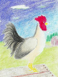White Folk Rooster. Folk Art Rooster in oil pastel Royalty Free Stock Photo