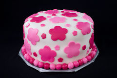 White Fondant Cake with Pink Flowers Stock Photography