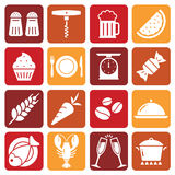 White Food Icons on colored backgrounds. A collection of funny Icons regarding all type of food and drinks Stock Photo
