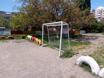 White football goals on the playground with sand Stock Image