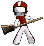 White Football Player Man broom fighter defense pose. Toon Rendered 3d Illustration Stock Photo