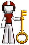 White Football Player Man holding key made of gold. Toon Rendered 3d Illustration Royalty Free Stock Photography