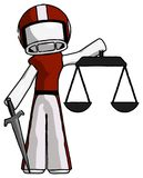 White Football Player Man justice concept with scales and sword,. Justicia derived - Toon Rendered 3d Illustration Stock Photo