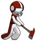 White Football Player Man striking with a red firefighter`s ax. Toon Rendered 3d Illustration Royalty Free Stock Photography