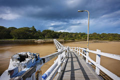White Footbridge Over Water. Royalty Free Stock Photography