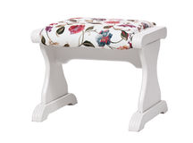 White footstool with floral print isolated Stock Image
