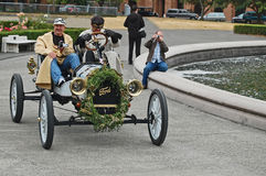 White  Ford Model-T race car arrives at finish Stock Photo