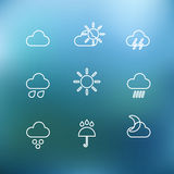 White forecast icons clip-art on color background Stock Photography