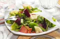 White fork and green salad Stock Photography