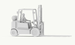 White Forklift with Operator Royalty Free Stock Photos