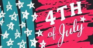 White fourth of July graphic against hand drawn pink, blue, white and grey american flag. Digital composite of White fourth of July graphic against hand drawn Stock Photography