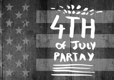 White fourth of July party graphic against grey american flag on wood panel. Digital composite of White fourth of July party graphic against grey american flag Stock Image