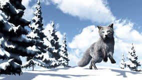White fox - 3D render Royalty Free Stock Photo