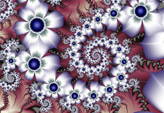 White fractal flowers. White and Navy Blue Fractal Flowers Stock Photography