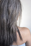 White fragile and damaged hair back side with selective focus. royalty free stock photos