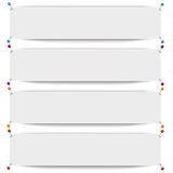 White Frame Banners Colored Pins. White frame banners with thumbtacks on the white background Royalty Free Stock Photo