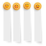 White Frame Banners Funny Suns Royalty Free Stock Photos