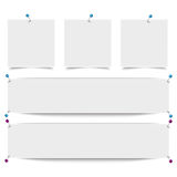 White Frame Banners Outline Pins. White frame banners with thumbtacks on the white background Royalty Free Stock Photos