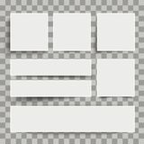 White Frame Banners Transparent. White frame banners with shadows on the checked background Stock Images