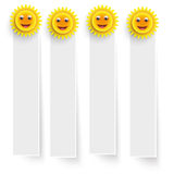 White Frame Banners Smiling Suns Royalty Free Stock Images