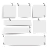 White Frame Banners Thumbtacks. White frame banners with thumbtacks on the white background Stock Image