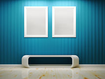 White frame and blue wall interior Royalty Free Stock Photos