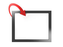 White frame board with red arrow. 3d Stock Photo