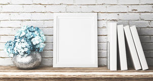 White frame with books and flowers, 3d Stock Image