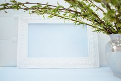 White frame with branches of green willow on a blue background. Copy space in the middle for your text. Willow twigs royalty free stock photos