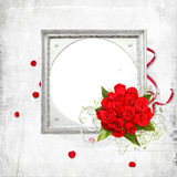 White frame with bunch of roses Royalty Free Stock Image